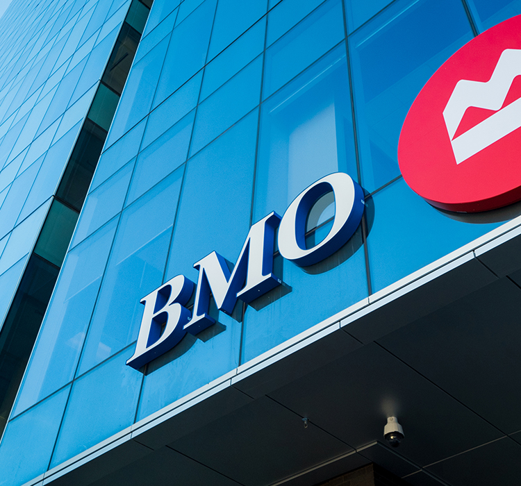The BMO logo on an office building