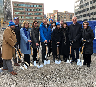 Dave Casper and BMO employees at Chicago Tower groundbreaking