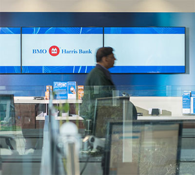 Employees in a BMO branch